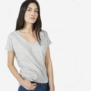 Everlane small grey pima cotton U neck tee shirt